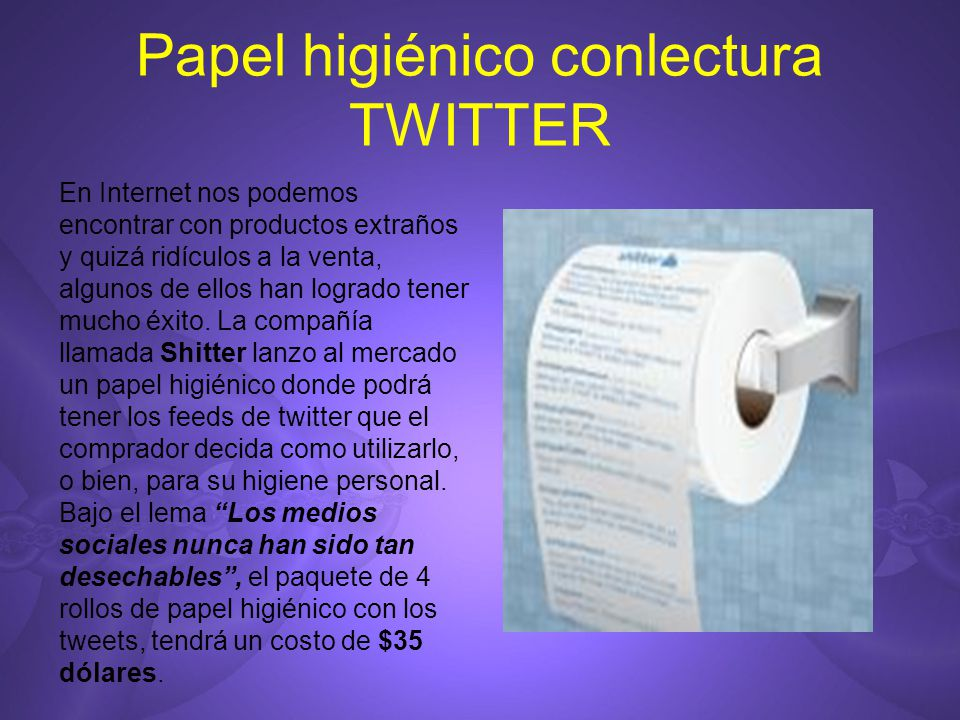 Papel higiénico conlectura TWITTER