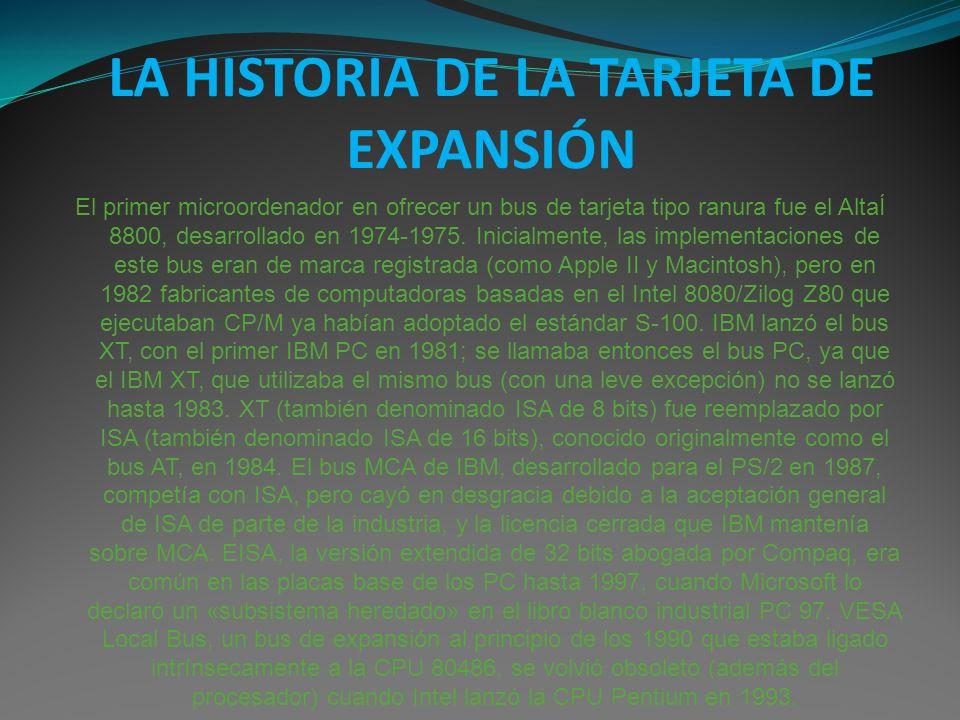 LA HISTORIA DE LA TARJETA DE EXPANSIÓN