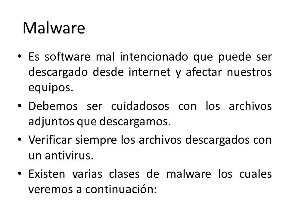Malware Es software mal intencionado que puede ser descargado desde internet y afectar nuestros equipos.