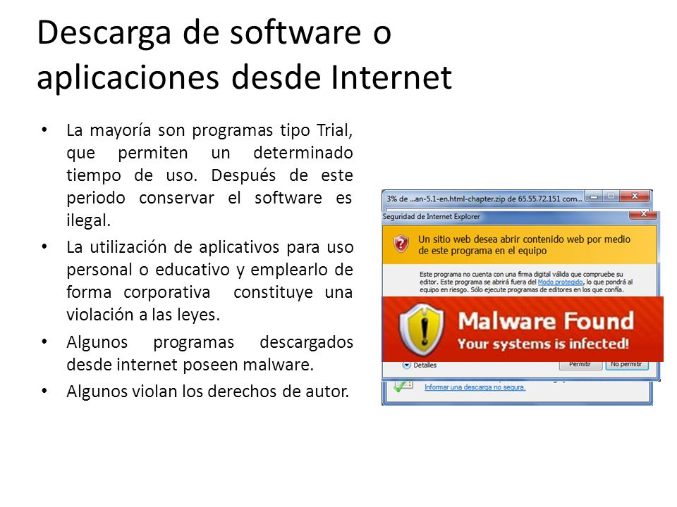Descarga de software o aplicaciones desde Internet