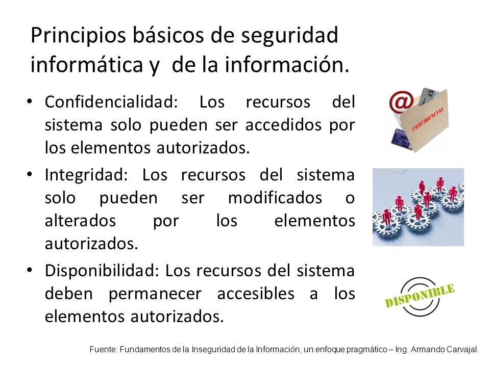 Principios básicos de seguridad informática y de la información.