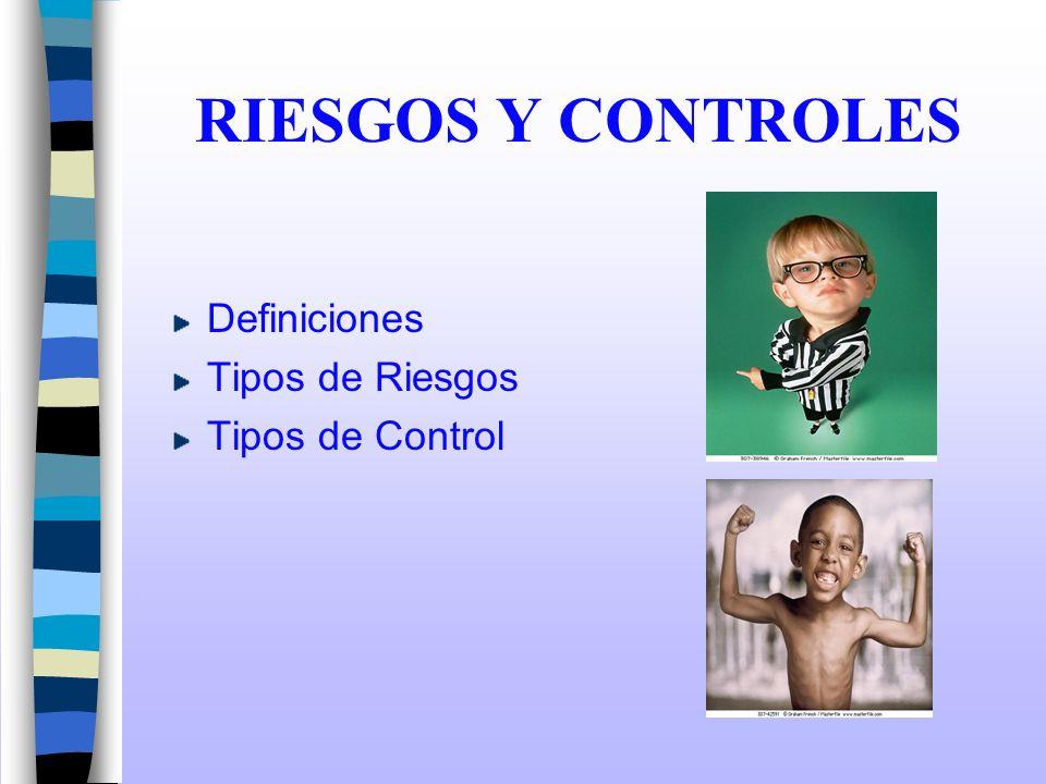 RIESGOS Y CONTROLES Definiciones Tipos de Riesgos Tipos de Control