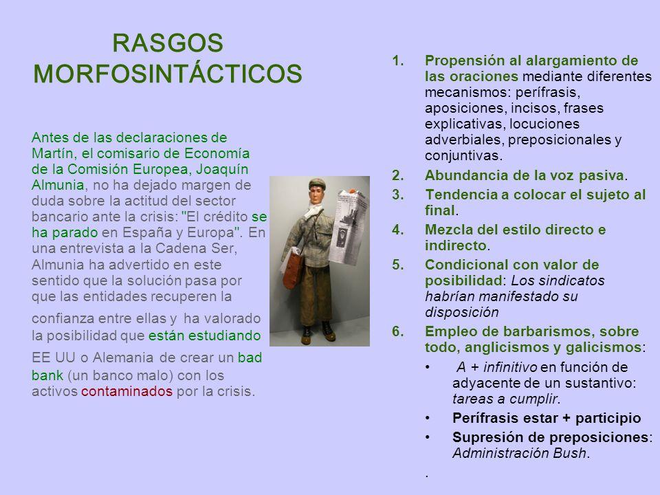 RASGOS MORFOSINTÁCTICOS