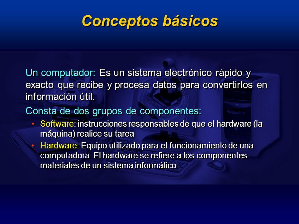 Conceptos básicosUn computador: Es un sistema electrónico rápido y exacto que recibe y procesa datos para convertirlos en información útil.