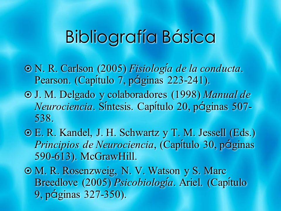 Bibliografía Básica N. R. Carlson (2005) Fisiología de la conducta. Pearson. (Capítulo 7, páginas 223-241).