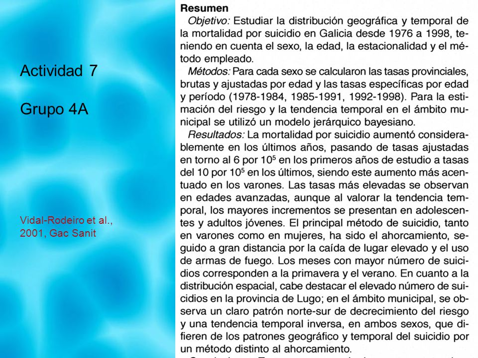 Actividad 7 Grupo 4A Vidal-Rodeiro et al., 2001, Gac Sanit