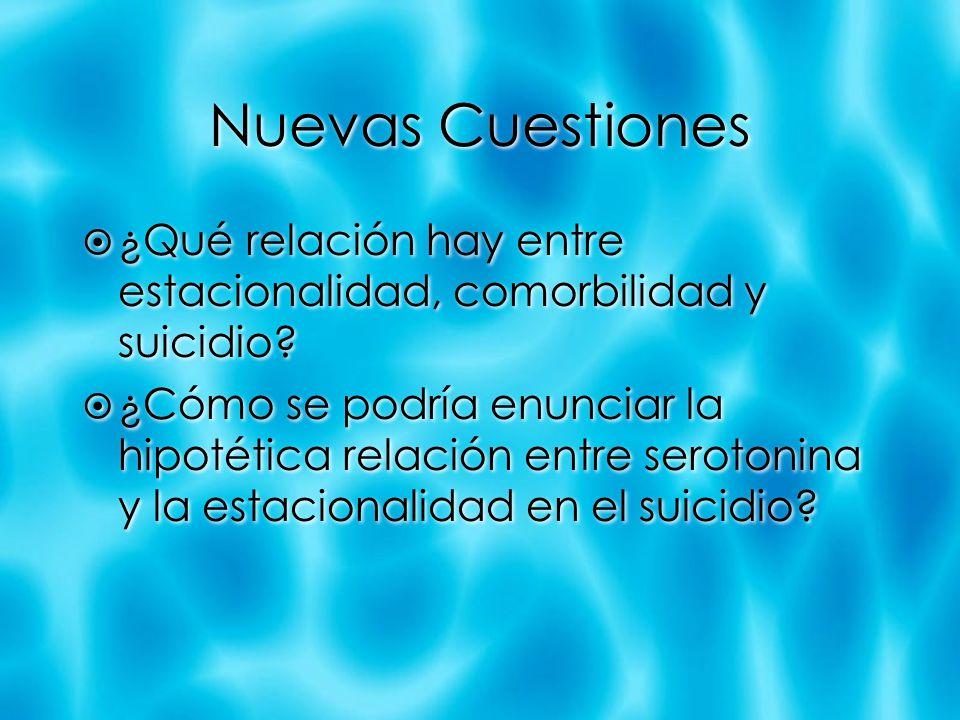 Nuevas Cuestiones ¿Qué relación hay entre estacionalidad, comorbilidad y suicidio