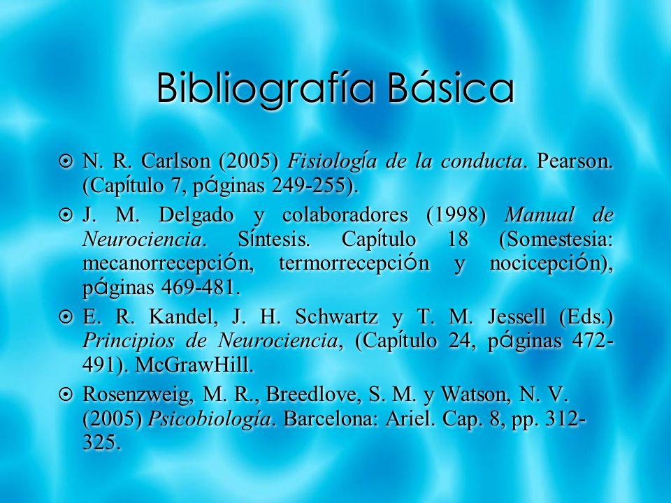 Bibliografía Básica N. R. Carlson (2005) Fisiología de la conducta. Pearson. (Capítulo 7, páginas 249-255).