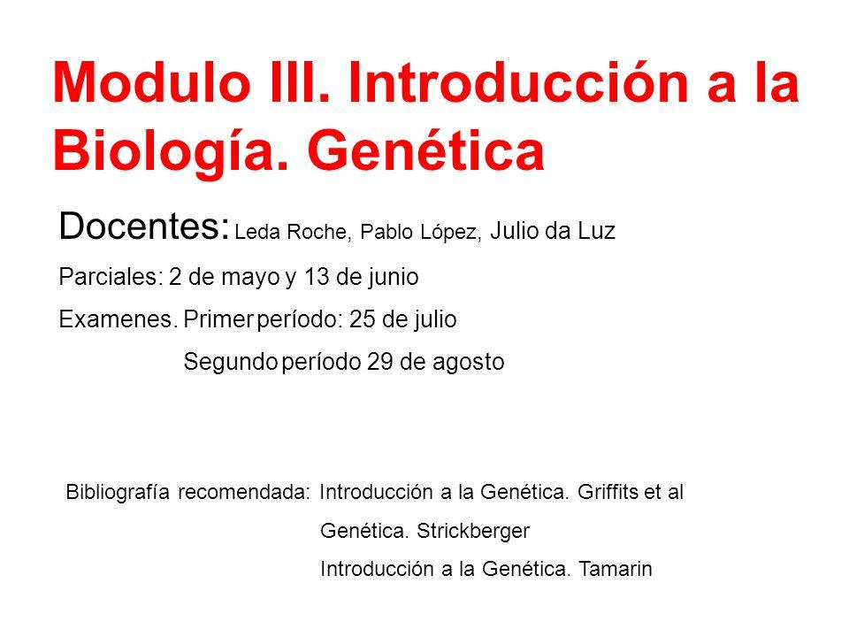 Modulo III. Introducción a la Biología. Genética