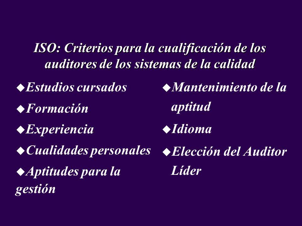 ISO: Criterios para la cualificación de los auditores de los sistemas de la calidad