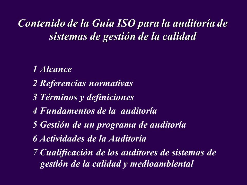 Contenido de la Guía ISO para la auditoría de sistemas de gestión de la calidad
