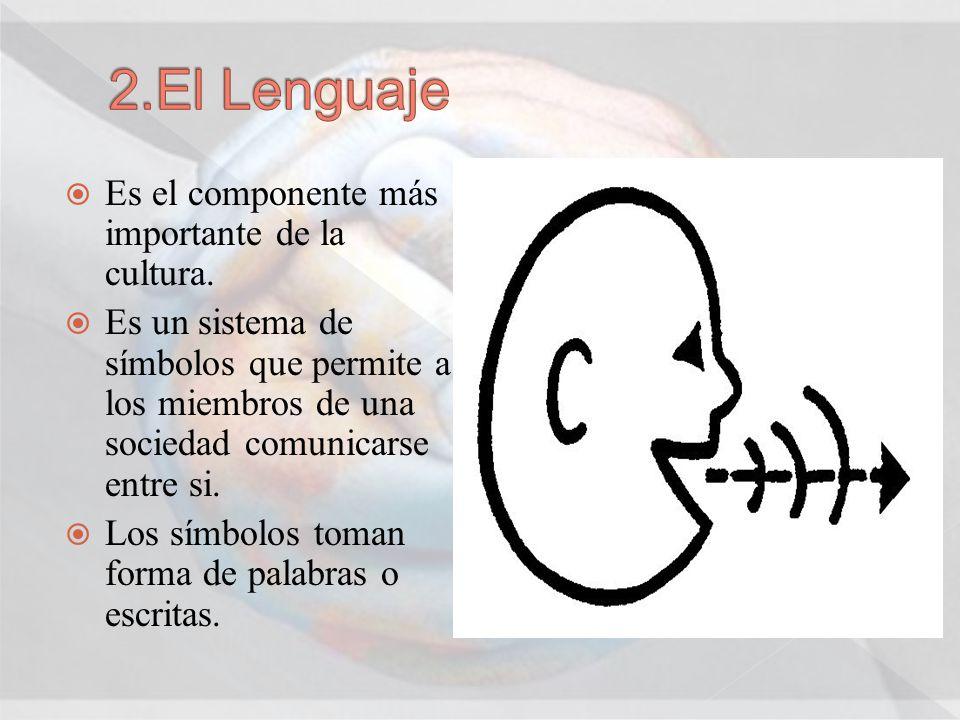 2.El Lenguaje Es el componente más importante de la cultura.