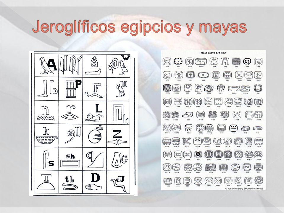 Jeroglíficos egipcios y mayas