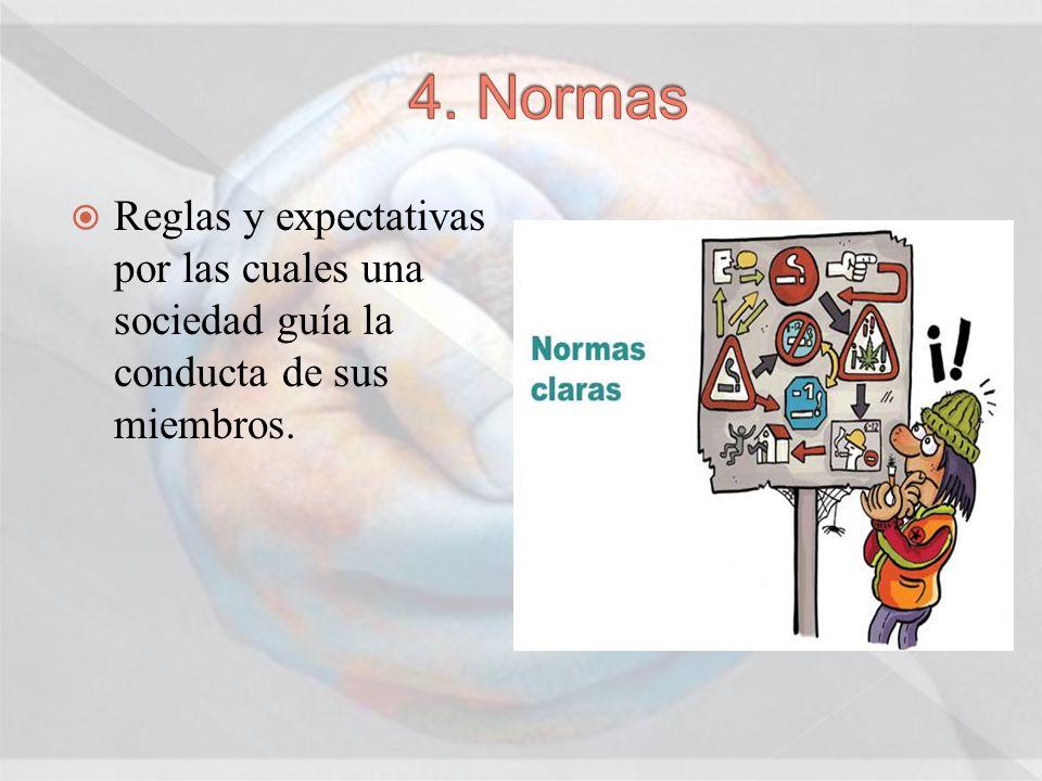4. Normas Reglas y expectativas por las cuales una sociedad guía la conducta de sus miembros.