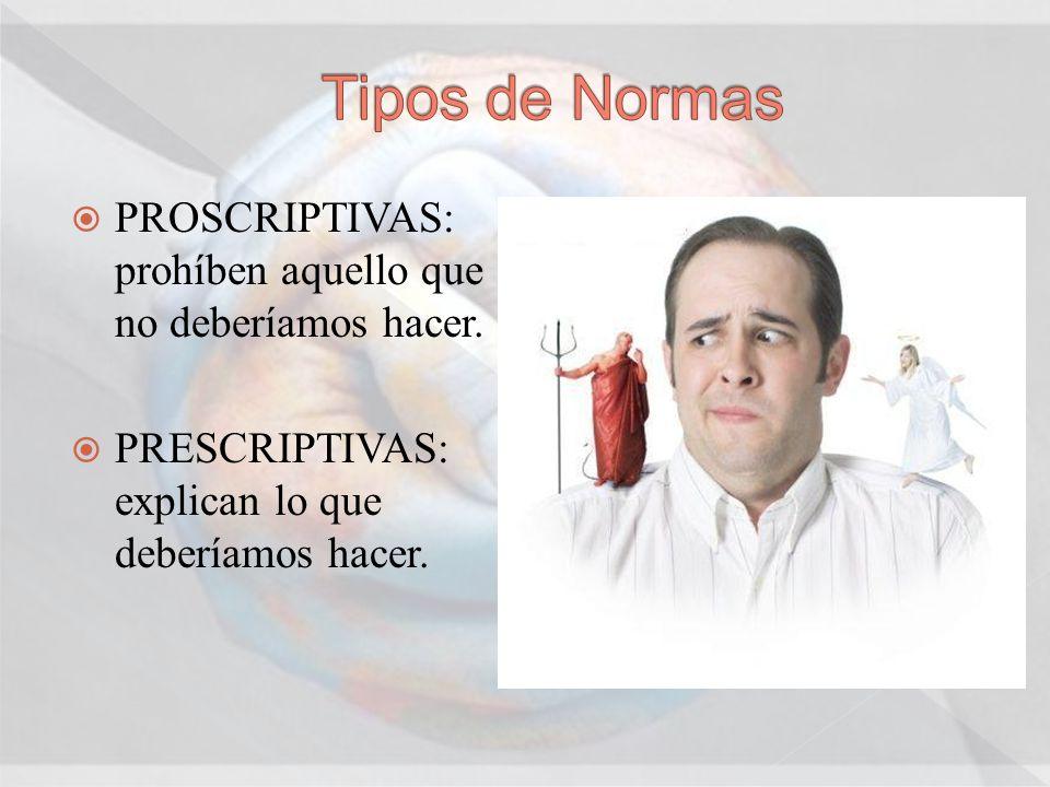 Tipos de Normas PROSCRIPTIVAS: prohíben aquello que no deberíamos hacer.