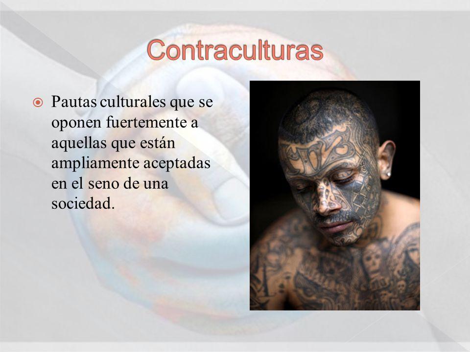 Contraculturas Pautas culturales que se oponen fuertemente a aquellas que están ampliamente aceptadas en el seno de una sociedad.