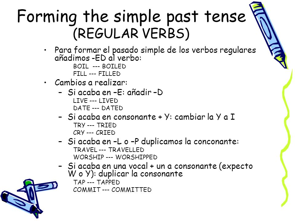 Forming the simple past tense (REGULAR VERBS)