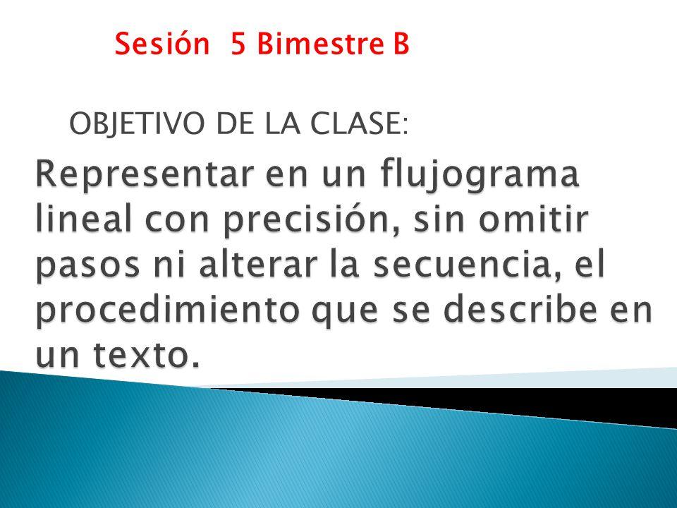Sesión 5 Bimestre B OBJETIVO DE LA CLASE: