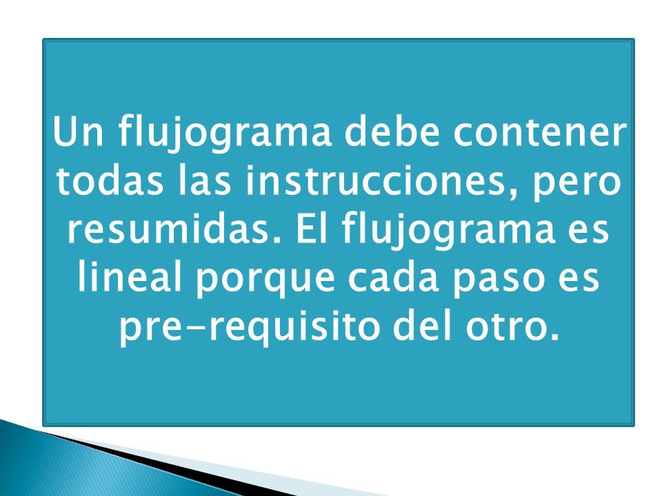 Un flujograma debe contener todas las instrucciones, pero resumidas