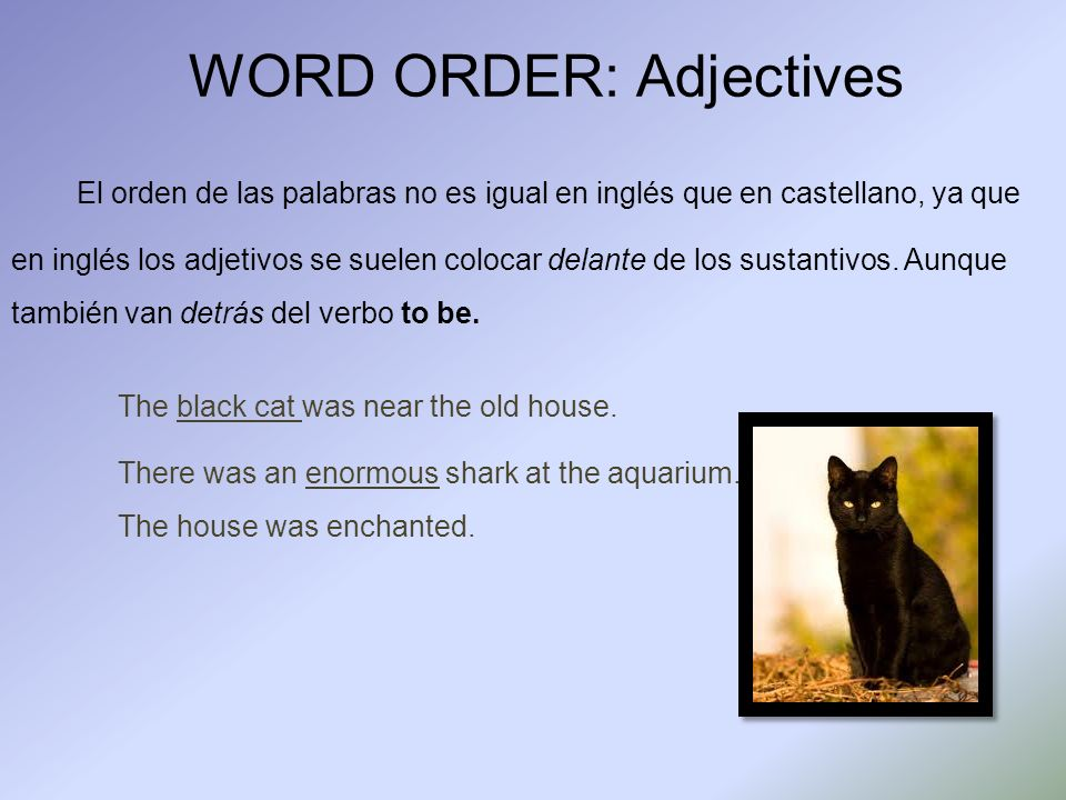 WORD ORDER: Adjectives El orden de las palabras no es igual en inglés que en castellano, ya que en inglés los adjetivos se suelen colocar delante de los sustantivos.