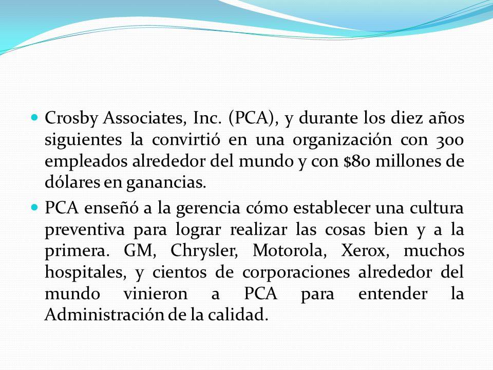Crosby Associates, Inc. (PCA), y durante los diez años siguientes la convirtió en una organización con 300 empleados alrededor del mundo y con $80 millones de dólares en ganancias.