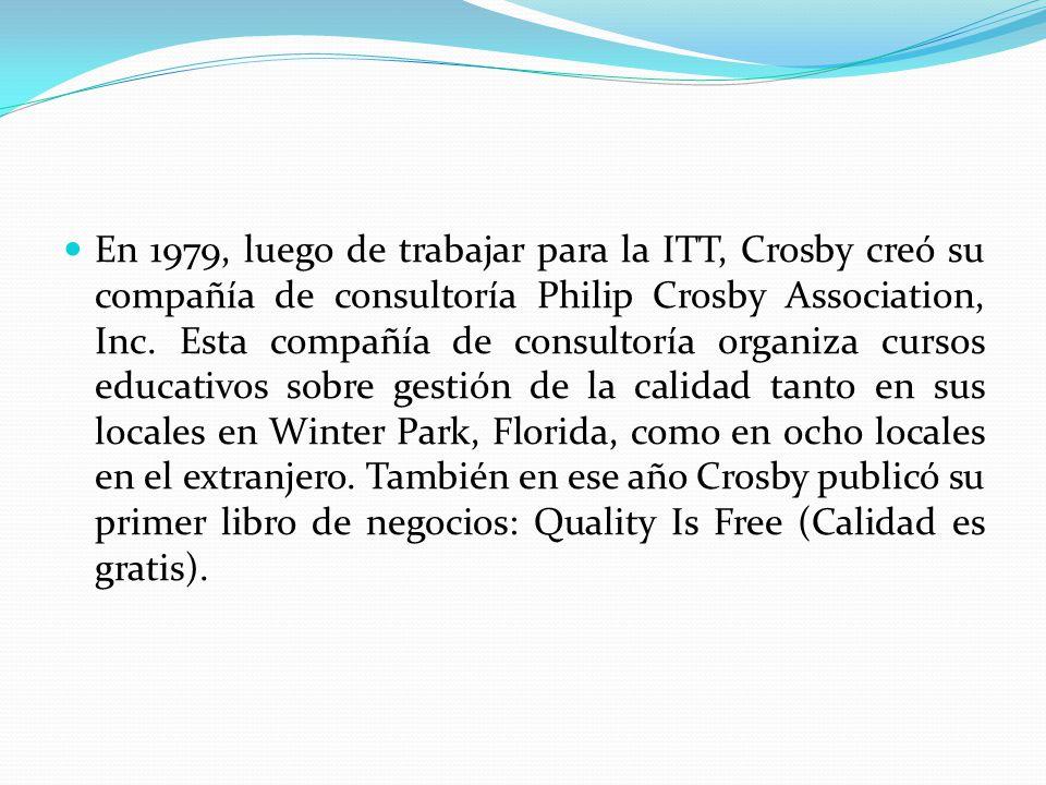 En 1979, luego de trabajar para la ITT, Crosby creó su compañía de consultoría Philip Crosby Association, Inc.