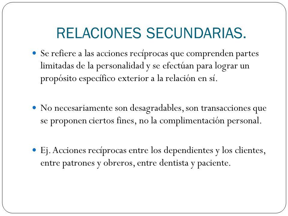 RELACIONES SECUNDARIAS.