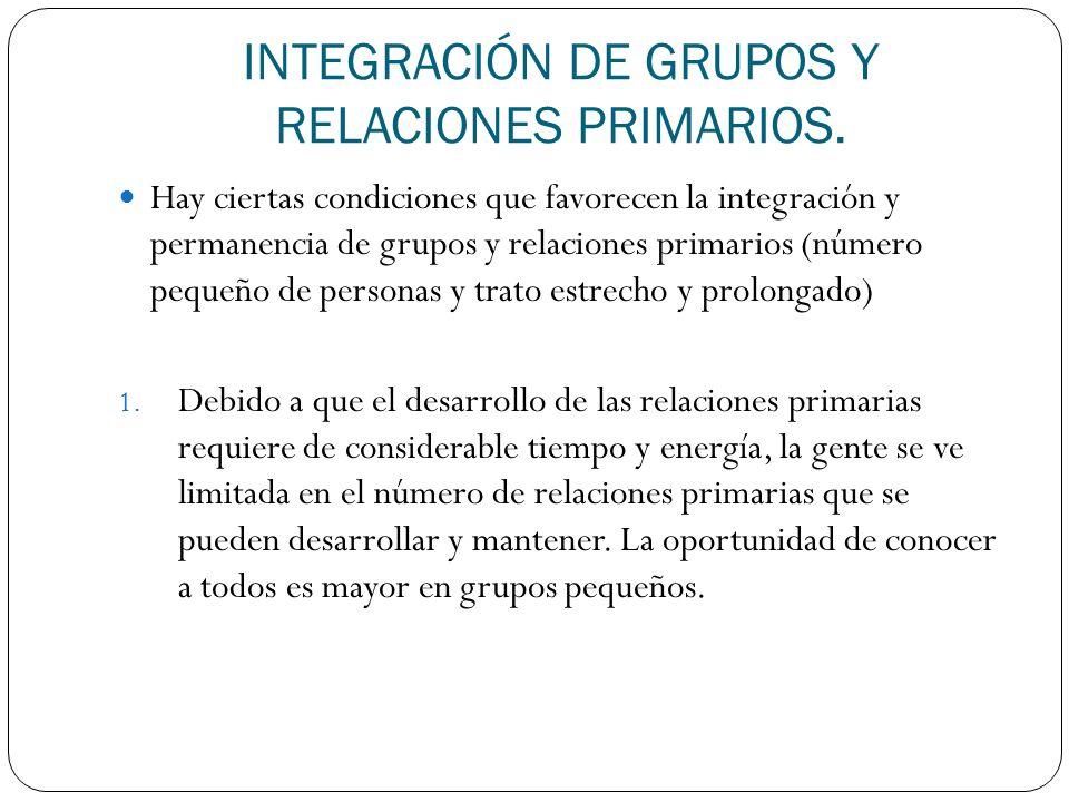 INTEGRACIÓN DE GRUPOS Y RELACIONES PRIMARIOS.