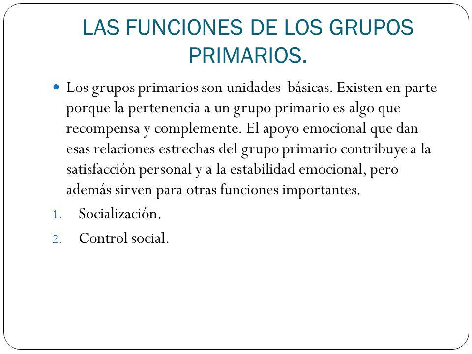 LAS FUNCIONES DE LOS GRUPOS PRIMARIOS.