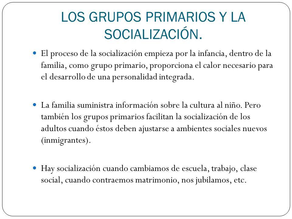 LOS GRUPOS PRIMARIOS Y LA SOCIALIZACIÓN.