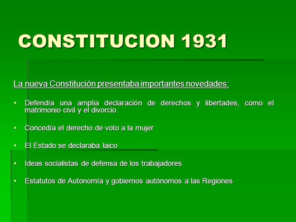 CONSTITUCION 1931 La nueva Constitución presentaba importantes novedades: