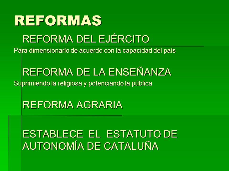 REFORMAS REFORMA DEL EJÉRCITO REFORMA DE LA ENSEÑANZA