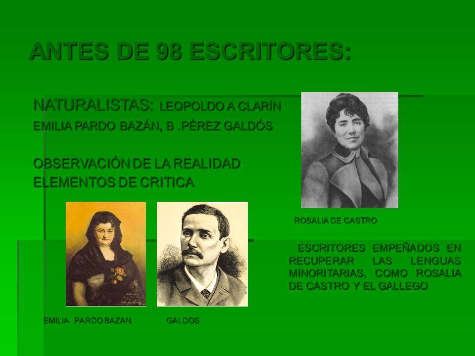 ANTES DE 98 ESCRITORES: NATURALISTAS: LEOPOLDO A CLARÍN