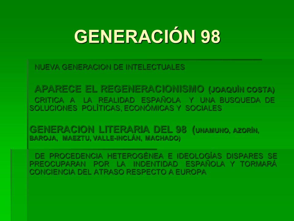 GENERACIÓN 98 NUEVA GENERACION DE INTELECTUALES