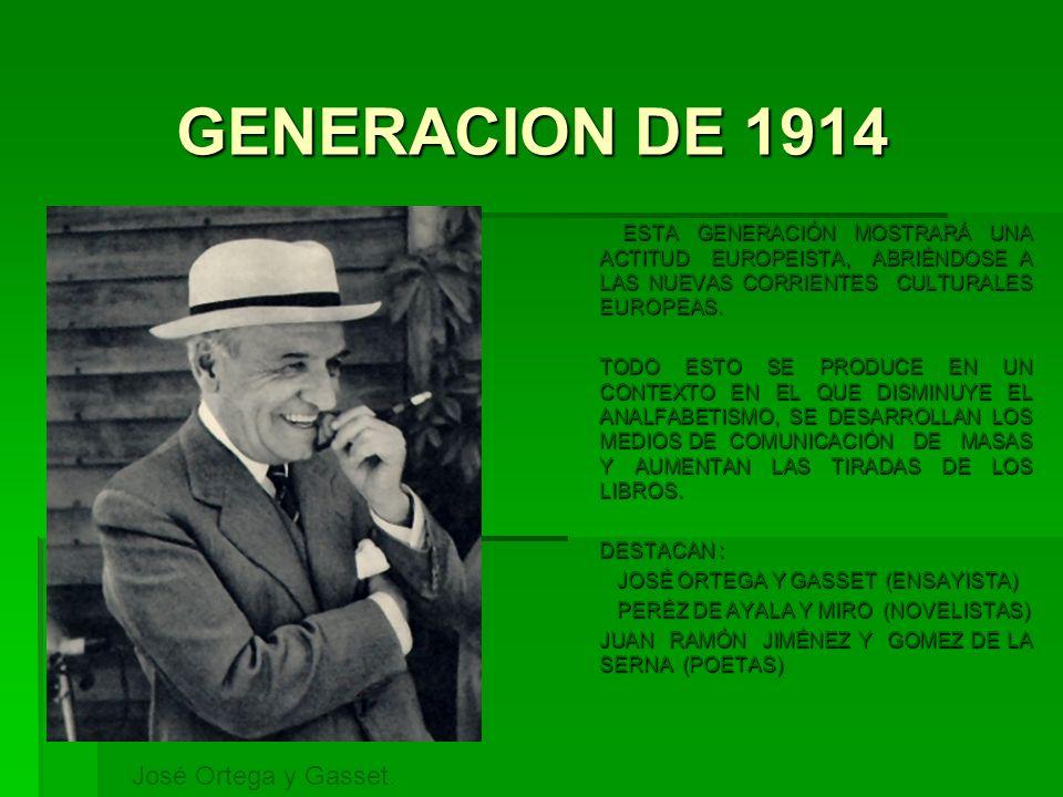 GENERACION DE 1914 José Ortega y Gasset.