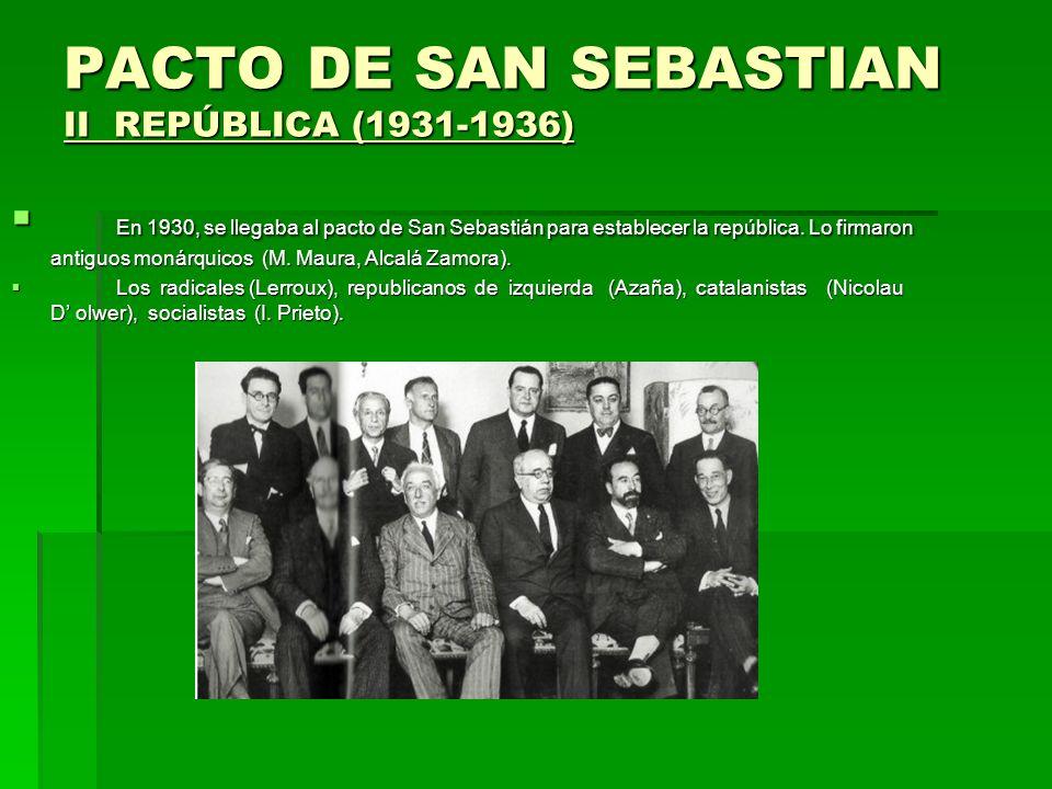 PACTO DE SAN SEBASTIAN II REPÚBLICA (1931-1936)