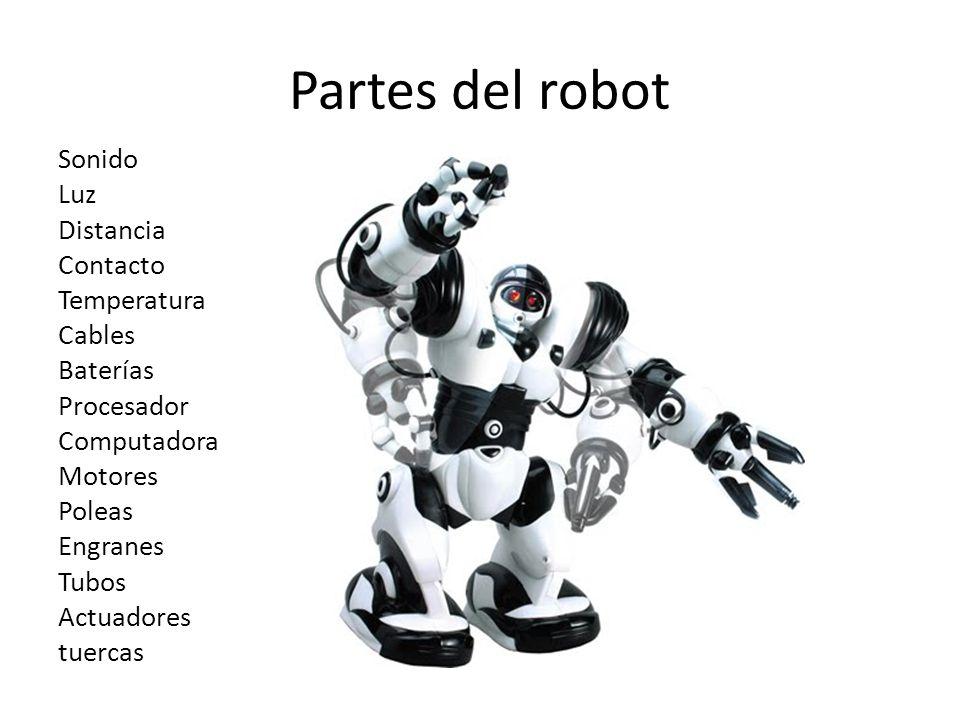 Partes del robot Sonido Luz Distancia Contacto Temperatura Cables Baterías Procesador Computadora Motores Poleas Engranes Tubos Actuadores tuercas