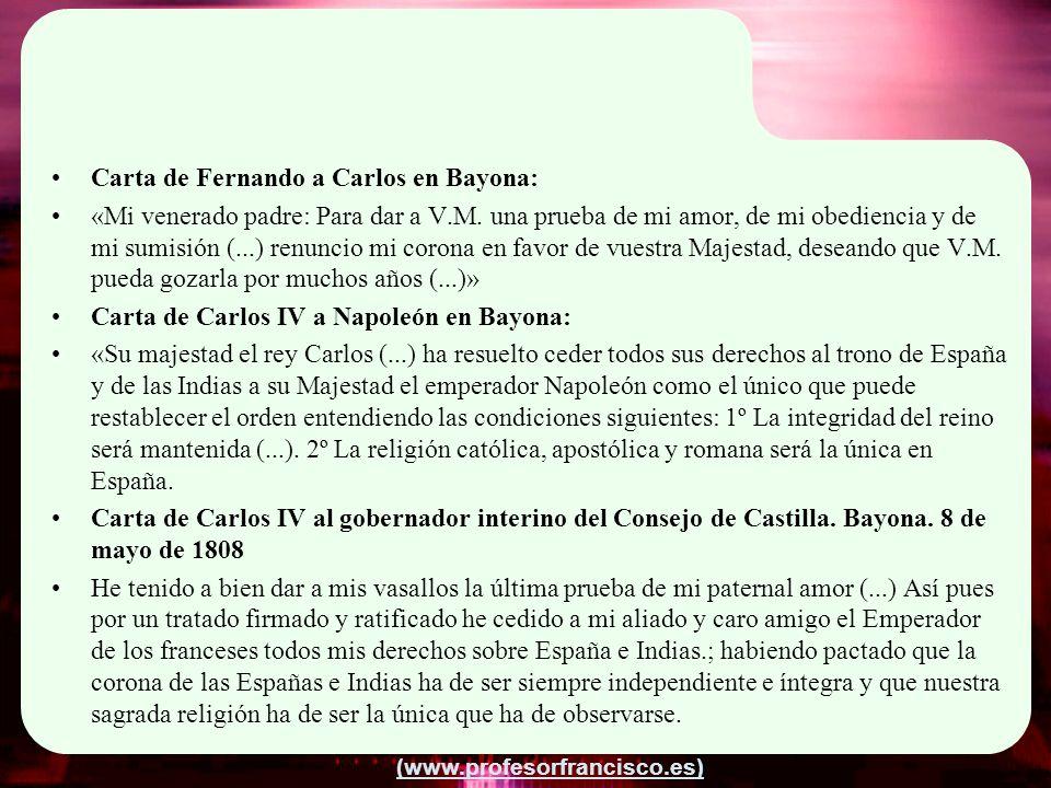 Carta de Fernando a Carlos en Bayona: