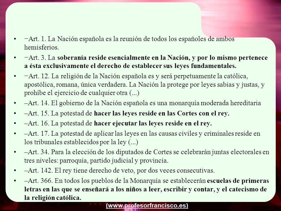 −Art. 1. La Nación española es la reunión de todos los españoles de ambos hemisferios.