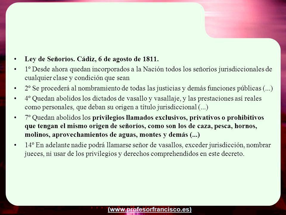 Ley de Señoríos. Cádiz, 6 de agosto de 1811.