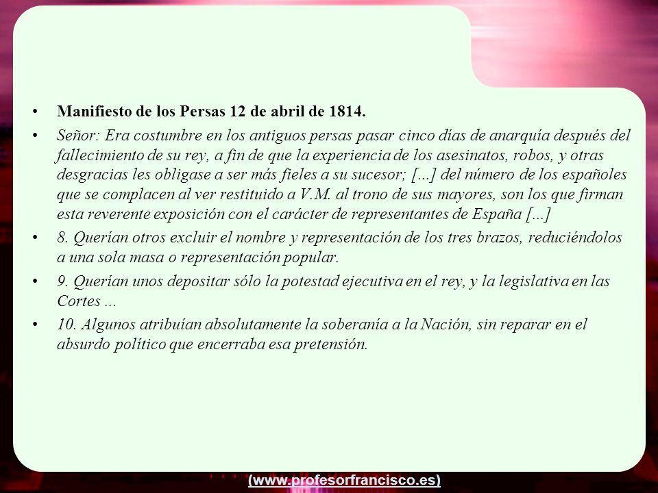 Manifiesto de los Persas 12 de abril de 1814.