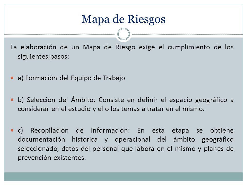 Mapa de Riesgos La elaboración de un Mapa de Riesgo exige el cumplimiento de los siguientes pasos: a) Formación del Equipo de Trabajo.