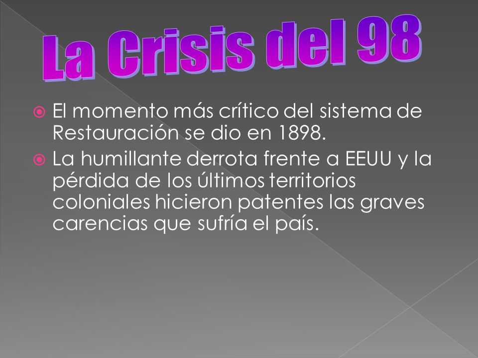 La Crisis del 98 El momento más crítico del sistema de Restauración se dio en 1898.