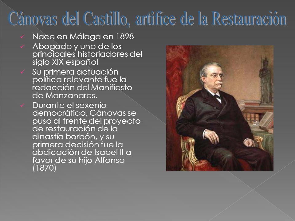 Cánovas del Castillo, artífice de la Restauración