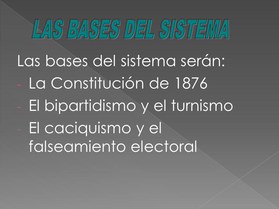 Las bases del sistema serán: La Constitución de 1876