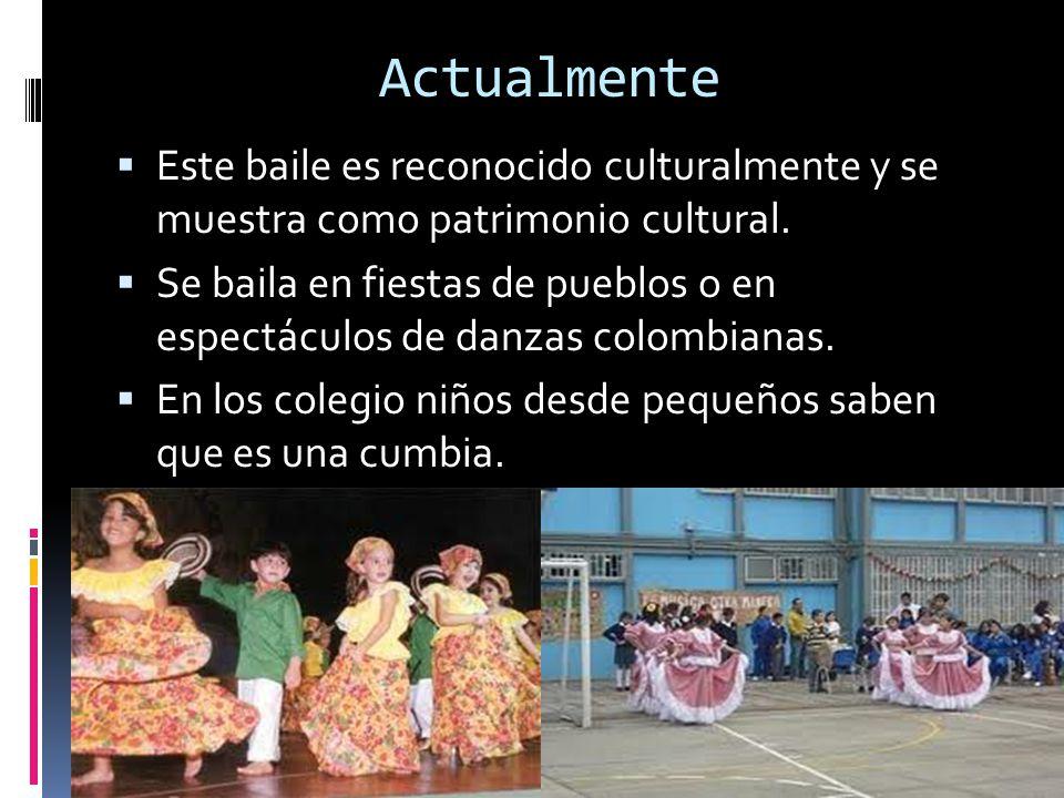 Actualmente Este baile es reconocido culturalmente y se muestra como patrimonio cultural.