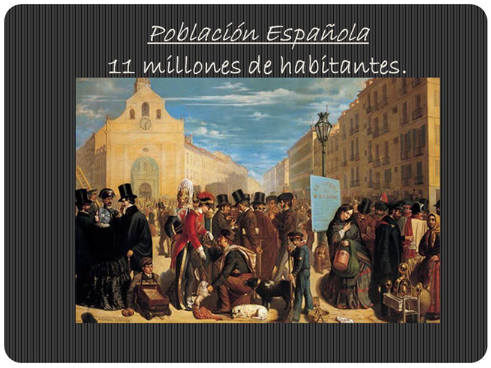 Población Española 11 millones de habitantes.