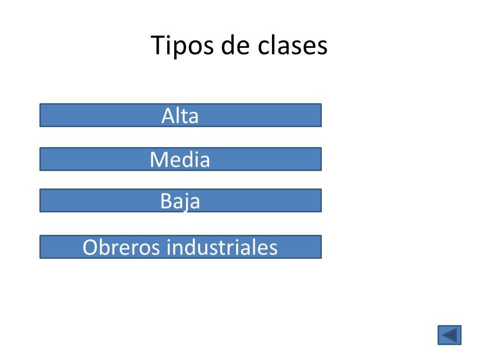 Tipos de clases Alta Media Baja Obreros industriales