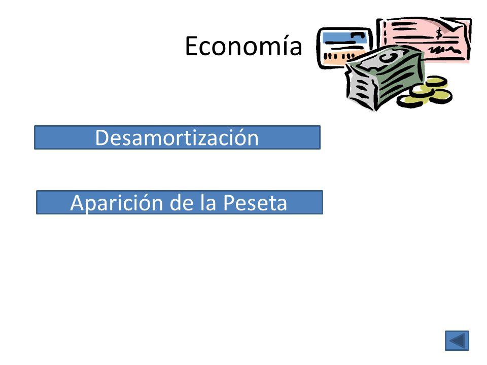 Economía Desamortización Aparición de la Peseta