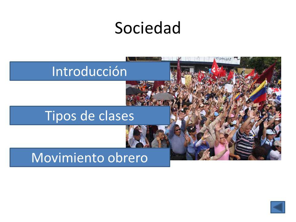 Sociedad Introducción Tipos de clases Movimiento obrero